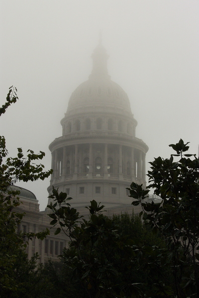 The Texas Capitol dome, shrouded in fog on election day.